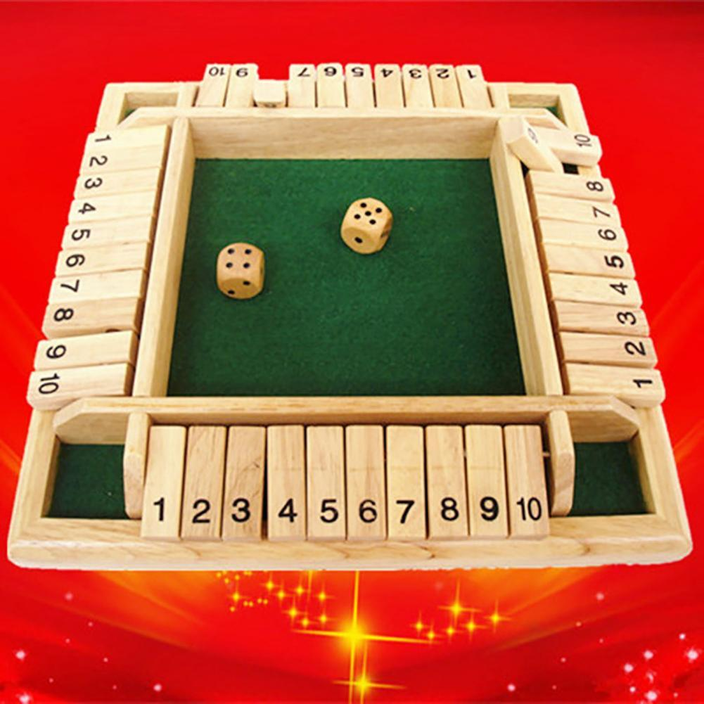 4 Players Digital Wooden Four-Sided Flop Digital Dice Board Game Toy Bar Party Club KTV Props Puzzle Board Gift