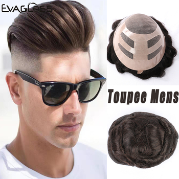EVAGLOSS Human Hair Mens Toupee Size 8*10 Fine Mono With Thin PU Men's Wig Hair Replacement System Hairpieces Wigs For Men k s wigs durable hairpieces swiss lace thin pu toupee for men replacement system 100