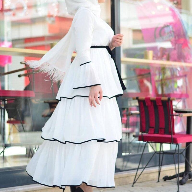 Kili Women Muslim Dress Arabic Ruffles Fashion Full Sleeve Casual Ladies Islamic Long Maxi Dresses 4