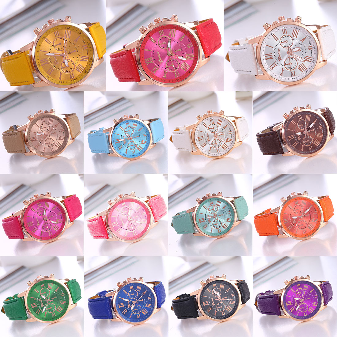 Couple Belt Table Quartz Fake Three-eye Casual Gold  Women Bracelet Watch Korean Fashion Trend Geneva Ladies  Wrist Watches