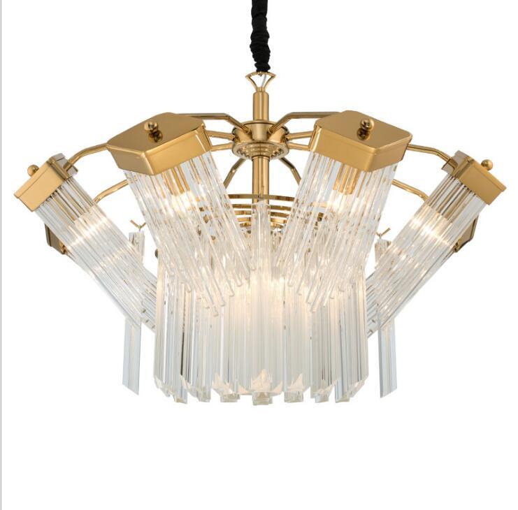 Light Luxury Simple Creative Glass Chandelier Personality Design Ten-sided Ambush Duplex Restaurant Model Room Chandelier