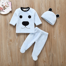 2019 Fashion Baby Clothes Winter Newborn Girl Boy Cartoon Tops Pants Outfits Fluffy Warm