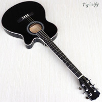 thin body acoustic-electric guitar beginner guitar with free gig bag free string black natural sunburst white color