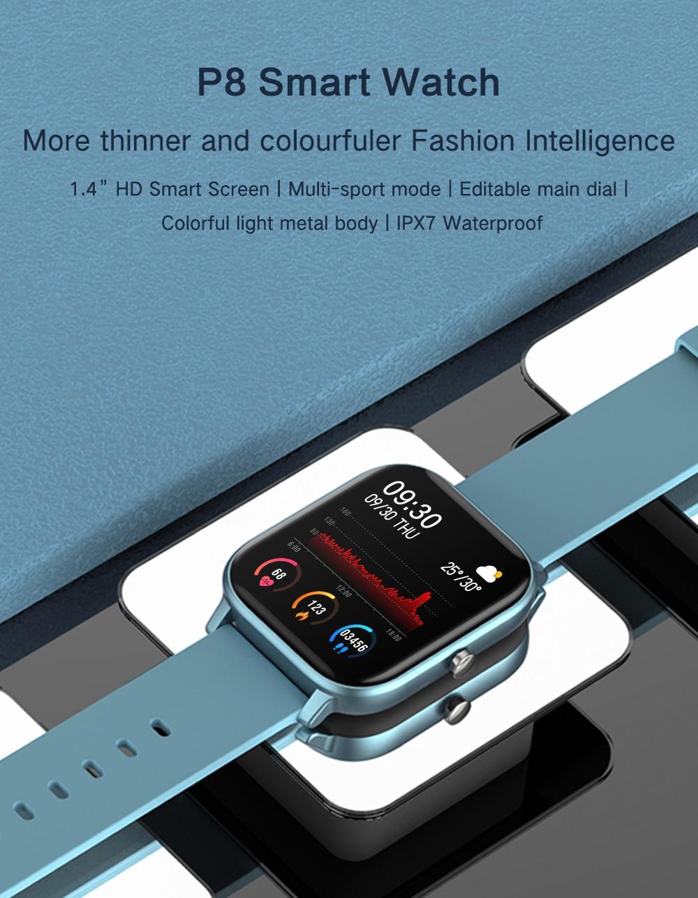 H2839f493c4304764b0a0d827de1e20b1V 2021 New P8 Color Screen Smart Watch Women men Full Touch Fitness Tracker Blood Pressure Smart Clock Women Smartwatch for Xiaomi