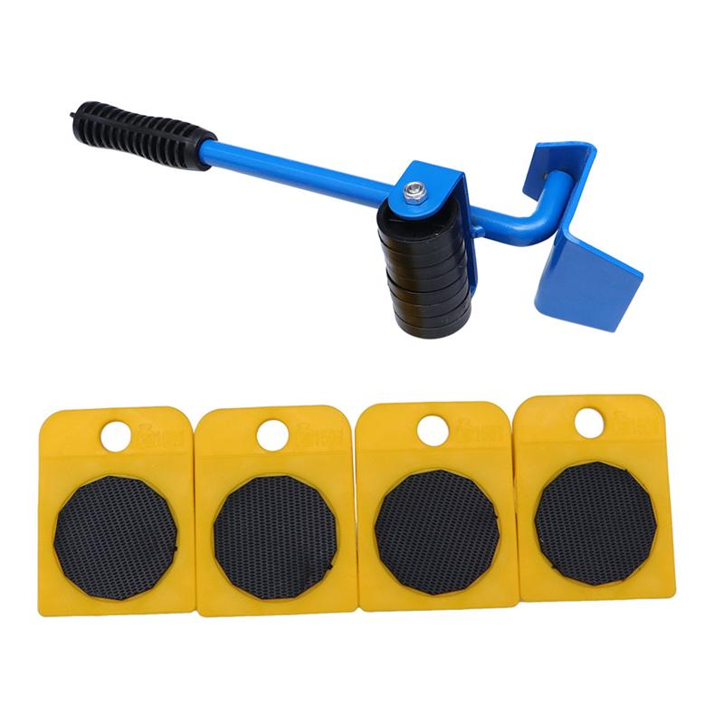 5pcs In One Set Heavy Power Furniture Slider Movers Wheel Crowbar Tool Home Appliances Casters