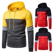 2019 Casual Tracksuits Hoodies Men Fashion Patchwork Hooded Sweatshirt Coat Mens Slim Sportswear