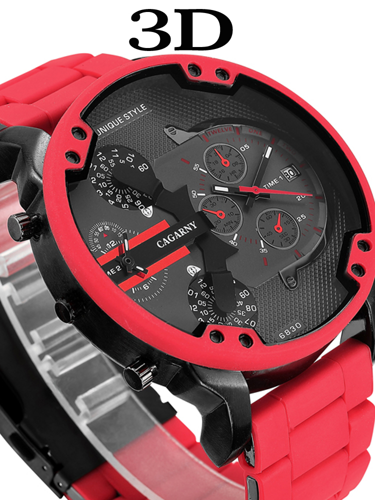 Cagarny Red Watch Military Big Dial Steel-Band Men Luxury Quartz Silicone 57mm Masculino