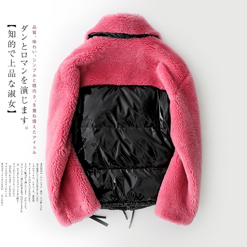 Real Fur Coat Women Winter Colorful Short Wool Jaclet Female Patchwork Duck Down Jackets Warm Sheep Shearing Outercoat LX2531