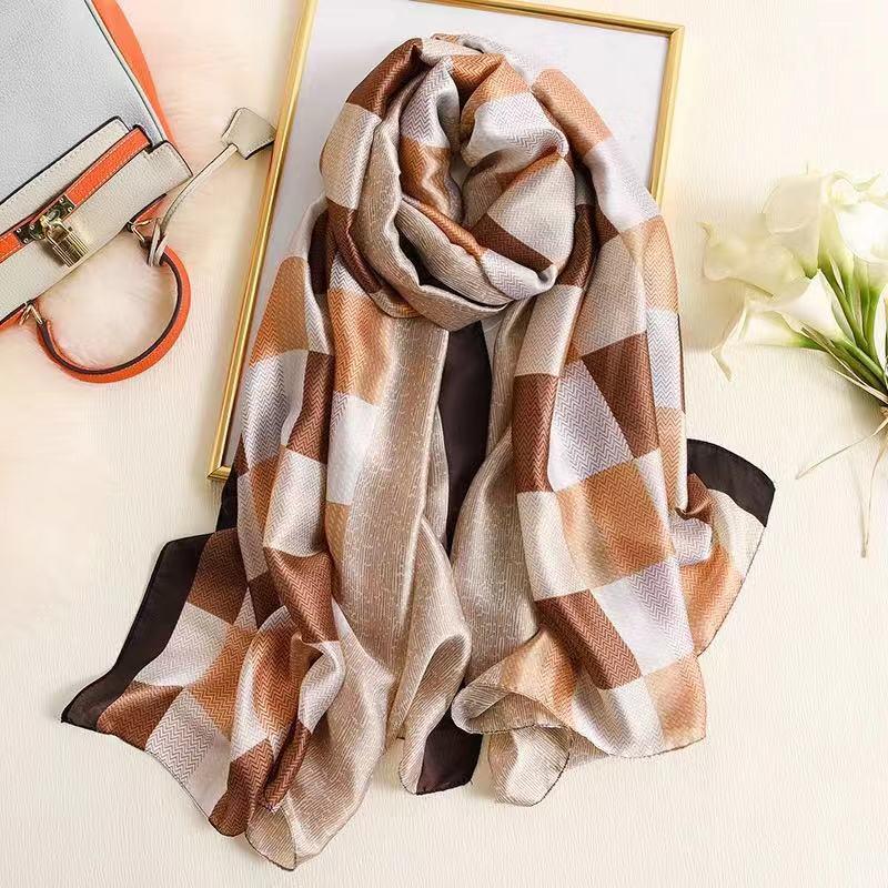 Classic Summer Women Beach Scarf Prints Silk Scarves Female Shawls Women Foulard Cover-ups Wraps Bandanna Free Shipping Muffler