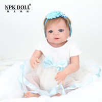 NPKDOLL 22 Inch Doll Reborn Baby Blue eyes Dolls Full Body Silicone Dolls For Girls Reborn Doll Christmas Gift Soft Mohair