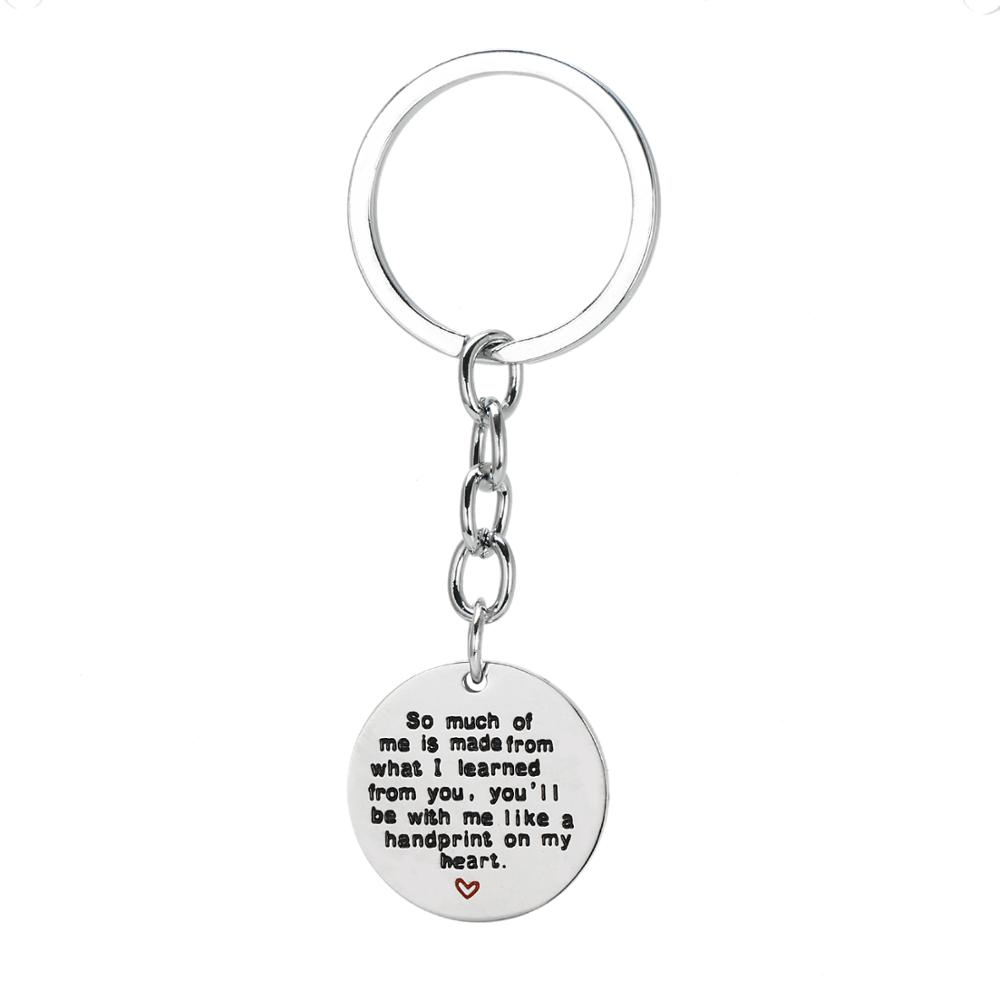 12PC So Much Of Me Is Made From What I Learned From You Keyring Dog Tag Stainless Steel Charm Pendant Keychain Father's Day Gift image