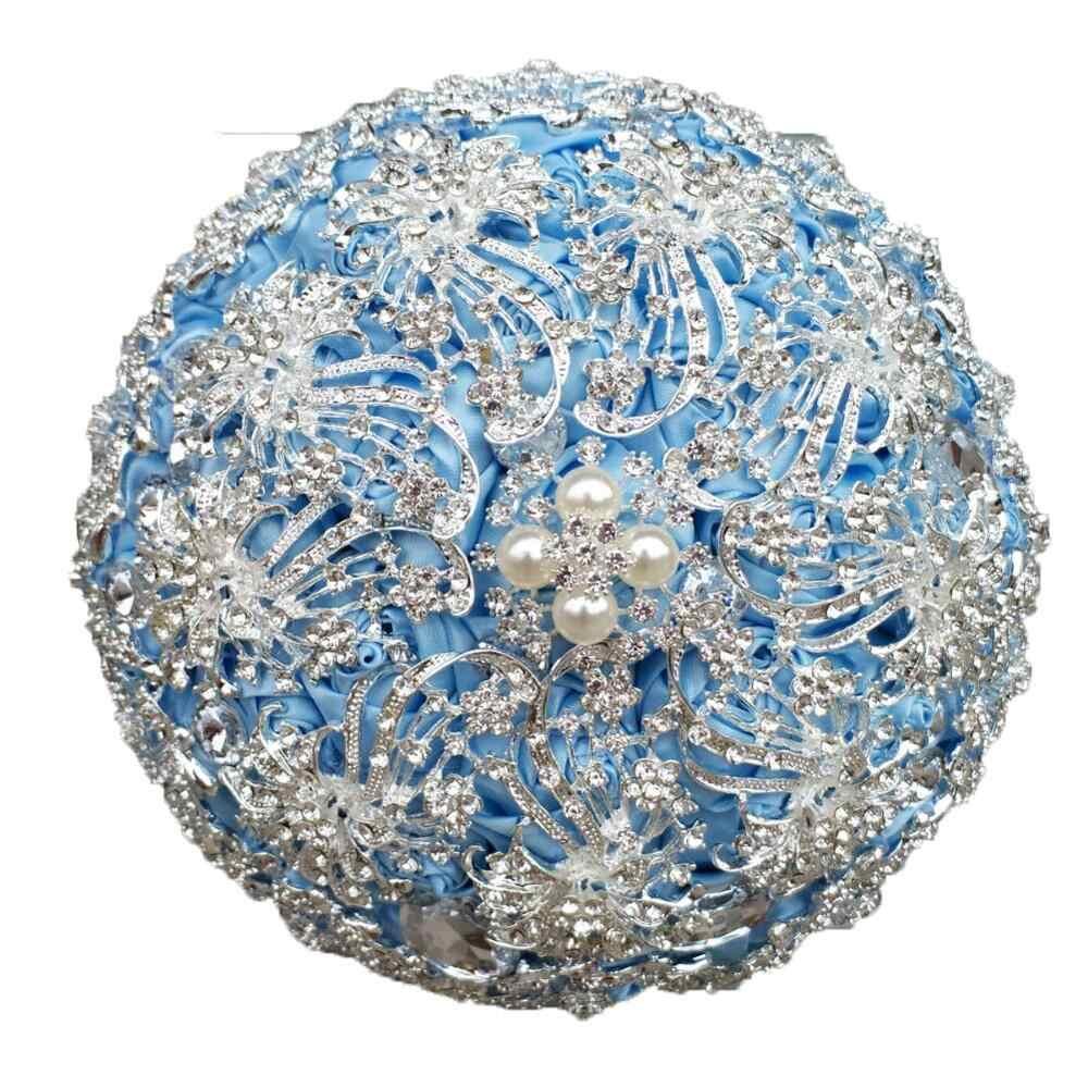 JaneVini di Cristallo di Lusso Grigio Fiori di Raso Bouquet Da Sposa Artificiale con Strass Perle Sposa Spilla Monili di Cerimonia Nuziale Accessori