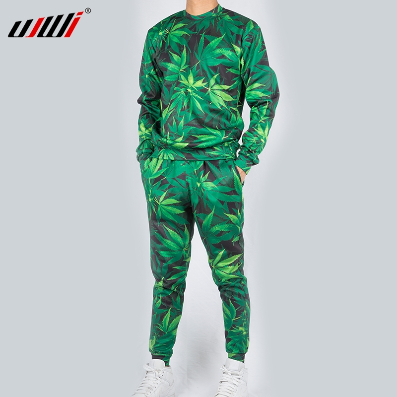UJWI Casual Streetwear Sweatshirt And Pants Feuille Green Hemp Leaf Weed 3d Crewneck Hoodie Pullovers Men/Women Tracksuit