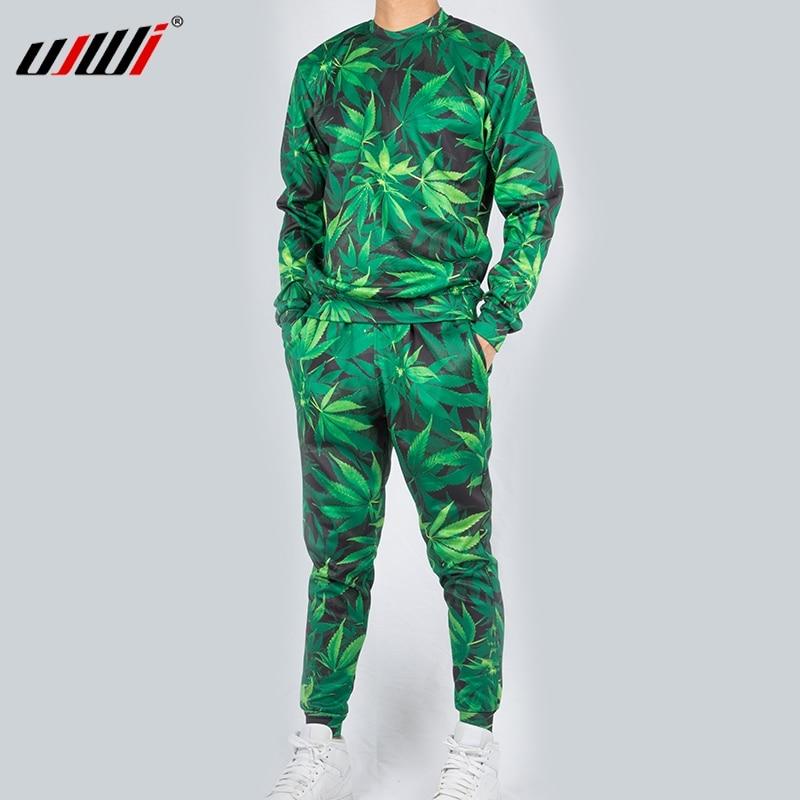 UJWI Casual Streetwear Sweatshirt And Pants Feuille Green Hemp Leaf Weed 3d Crewneck Hoodie Pullovers Men/Women Tracksuit