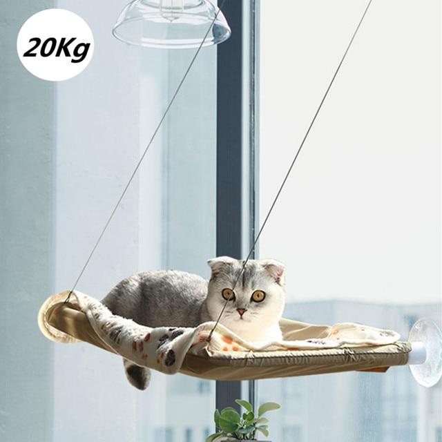 Cute Cat Hanging Beds Comfortable Sunny Seat Window Mount Pet Hammock Soft Pet Shelf Seat Beds Supplies Detachable Bearing 20kg 1