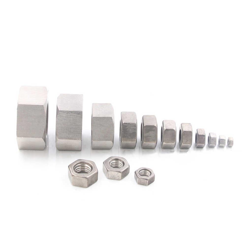 M3/4/5/6/8/10/12/14/16/18/ 20 TA2 GR2 Ti Titanium Hex Kepala Sekrup Kacang untuk DIY
