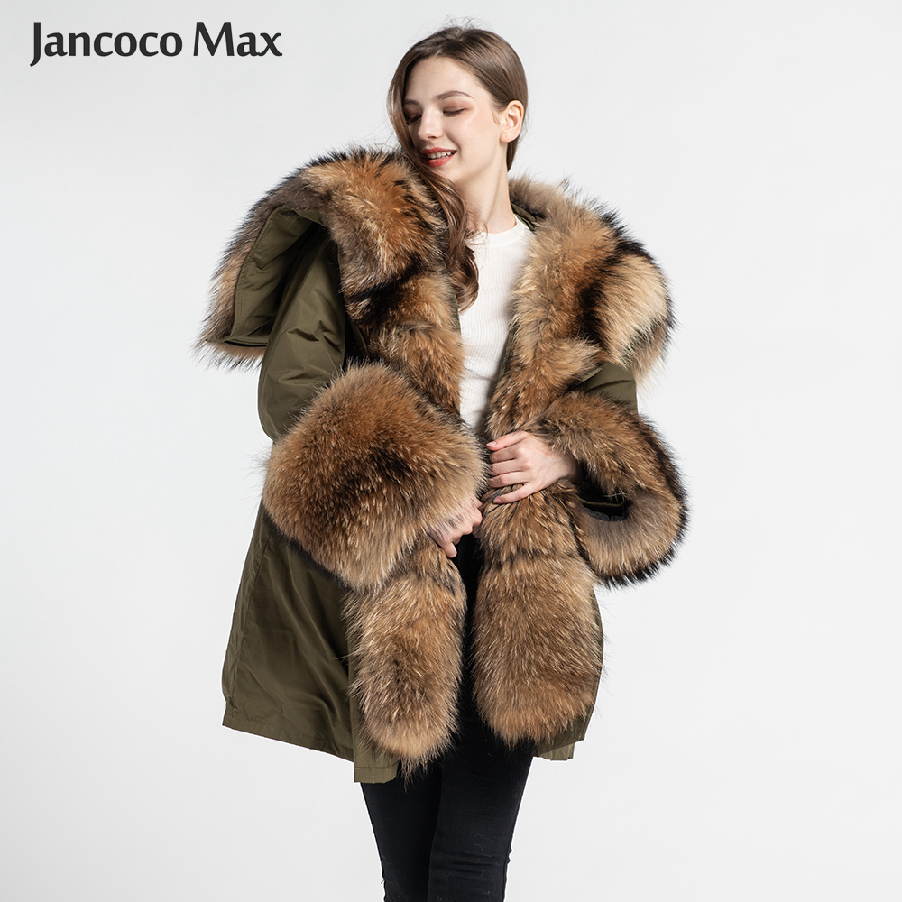 New Winter Women Supper Big Fur Parka Real Fox Fur / Raccoon Fur Hooded Fur Parkers Top Quality Outerwear S7555