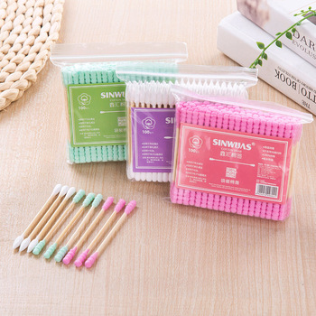 1/2/5pack Double Head Cotton Swab Cotton Buds Ear Cleaning Sticks Wood Sticks Remover Cotton Swabs Disposable Beauty Tool