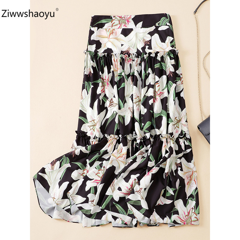Ziwwshaoyu Elegant lily Flower Printed Long Skirt Women Summer Designer Casual Holiday High Waist Skirt in Skirts from Women 39 s Clothing
