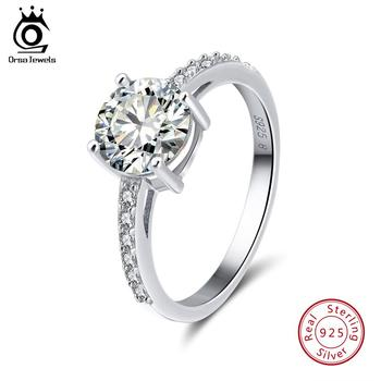 ORSA JEWELS Real 925 Sterling Silver Women Rings AAA Shiny Cubic Zircon Prong Setting Female Luxury Wedding Ring Jewelry SR56 orsa jewels real 925 sterling silver women rings aaa cubic zircon fashion wedding ring jewelry round finger ring for ladies sr71