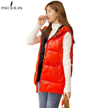PinkyIsBlack Autumn Winter Vest Women Waistcoat 2020 New Shinny Female Sleeveless Hooded Warm Short Vest Jacket Coat Outwear клава 2019 11 30t19 00