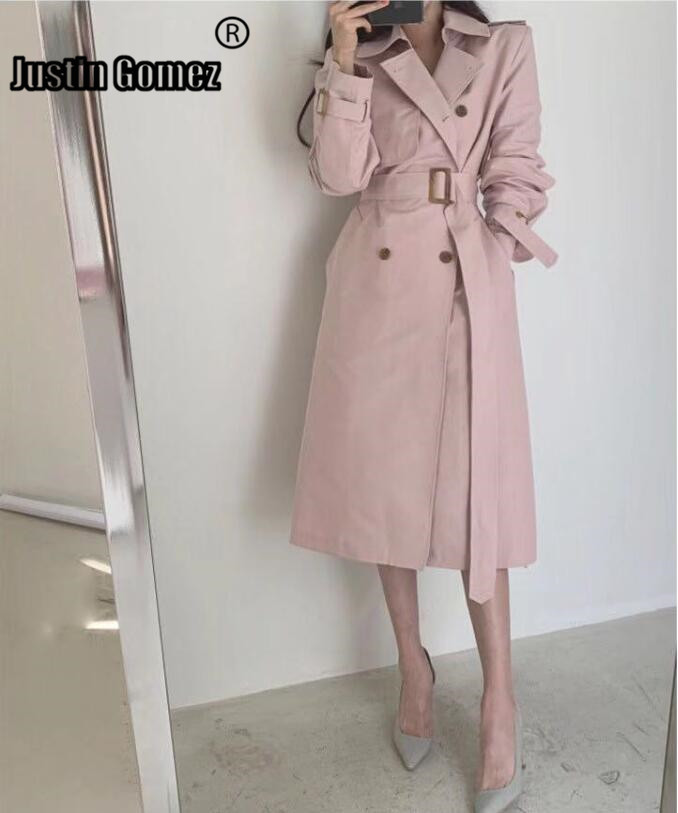 Corta Vento Feminino Elegant Woman Coats Khaki Temperament Women Fashion   Trench   Coat Pink Double-breasted   Trench   Femme With Belt