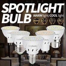 Bombilla LED para iluminación del hogar, foco de luz LED GU10 para sala de estar, B22, foco LED, E14, 220V, E27, MR16, 48, 60, 80, 2835