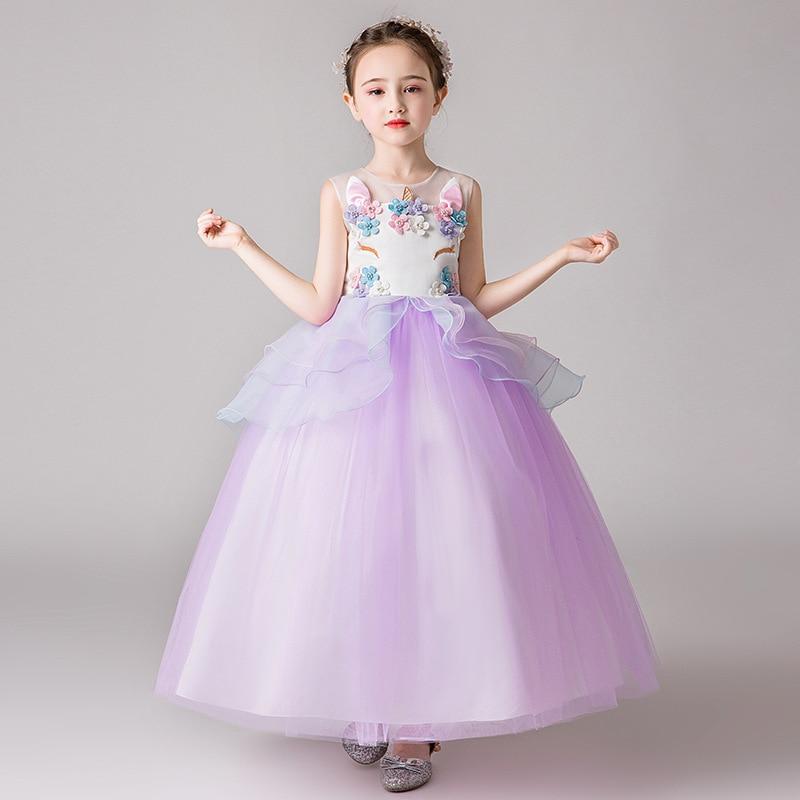 2019 Spring Lace Princess Dress Stereo Flower Europe And America Girls Puffy Dress Flower Fairy Little Girl Dress