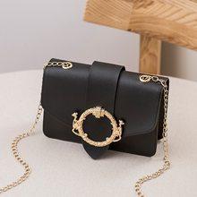 Женские сумки через плечо Новинка малым карманн застежки сумки на плечо с дизайнерской цепью сумка с клапаном модная обувь из искусственна...