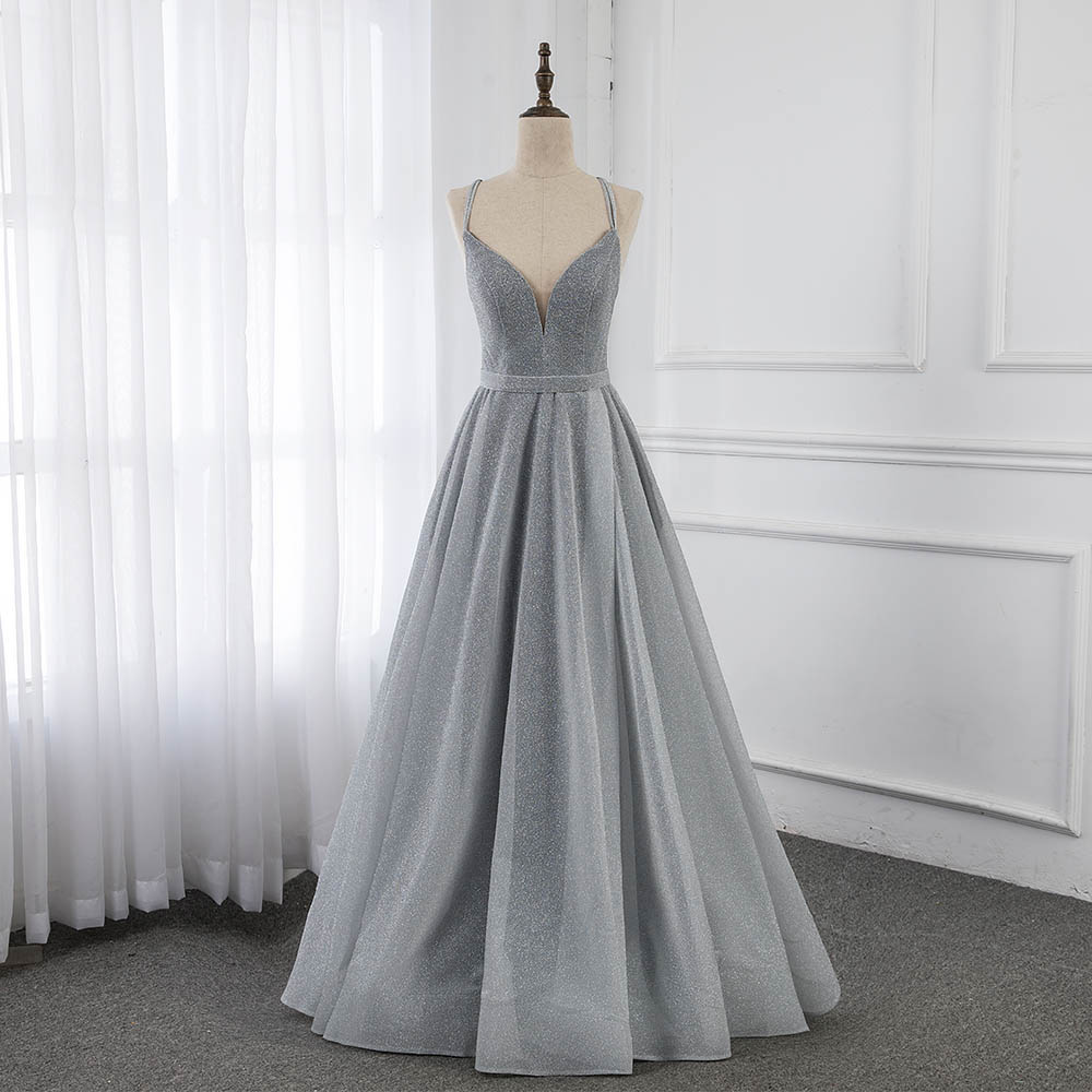 Simple Gray Long Prom Dresses Straps Formal Party Dress Sleeveless Lace-up