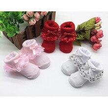1 пара мягких носков для малышей, простые твердые носки из чесаного хлопка, милые носки с бантиком для маленьких девочек носки для новорожденных