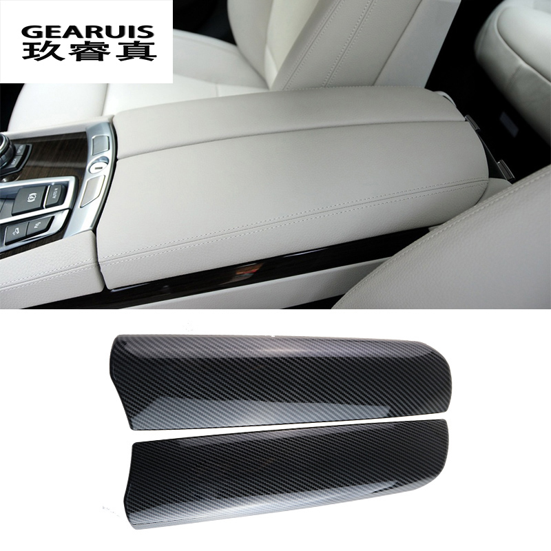 Car Styling Carbon Fiber For BMW 7 Series E65 E66 F01 F02 Stowing Tidying Armrest Box Protect Sticker Cover Interior Accessories