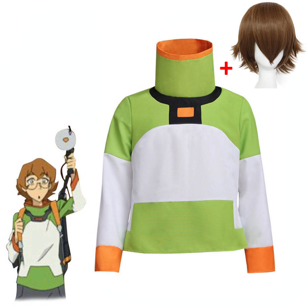 Cosplay diy Anime Voltron: Legend of the Defender Pidge Cosplay T-shirt Costume Top Long Sleeve Jacket for Halloween Costume wig