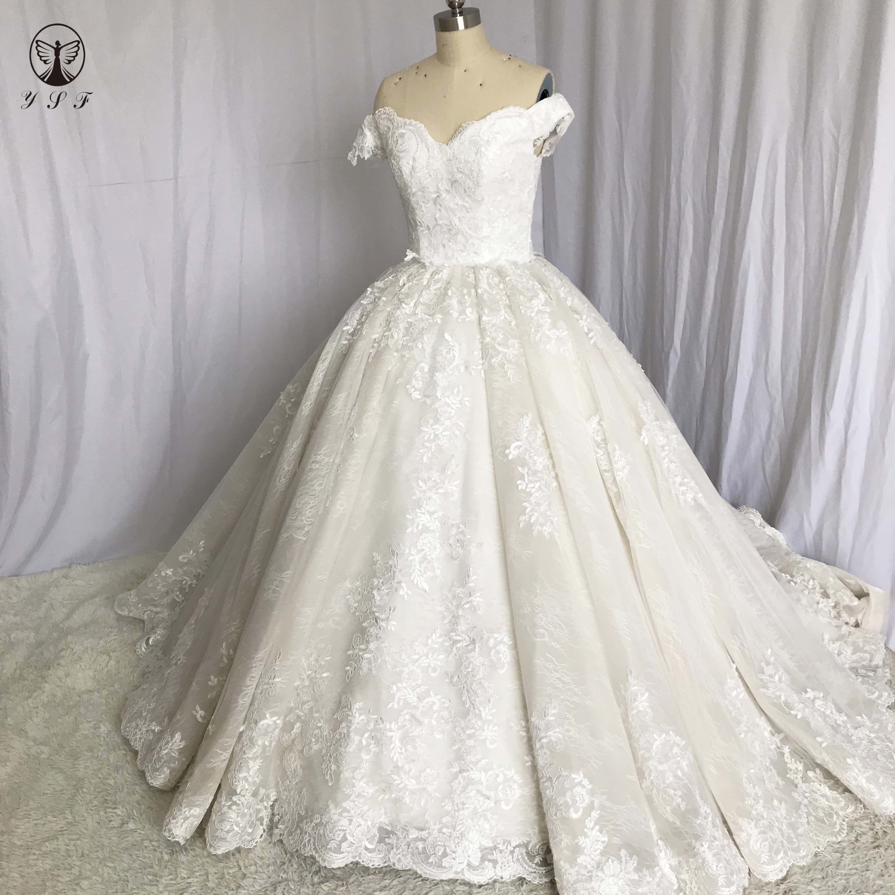 Designer Pernikahan De Novias Off Bahu Sayang Panjang Lengan Ball Gown Puffy Feather Wedding Dresses Cheap Store