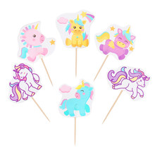 24/48pcs Cartoon Unicorn Party Cupcake Topper Happy Birthday Party Baby Shower Children Party-Decor Kids Cake Decor Supplies