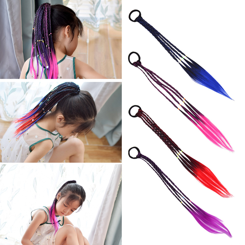 Fashion Girls Elastic Hair Rubber Band Hair Accessories Wig Ponytail Hairbands Children Twist Braid Rope Headdress Hair Braider