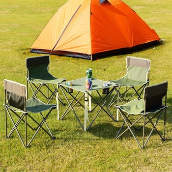 Outdoor Camp Portable Folding Table Chairs Set w/ Carrying Bag Thickened Oxford Cloth Wide Chair Design Camping Set OP3381
