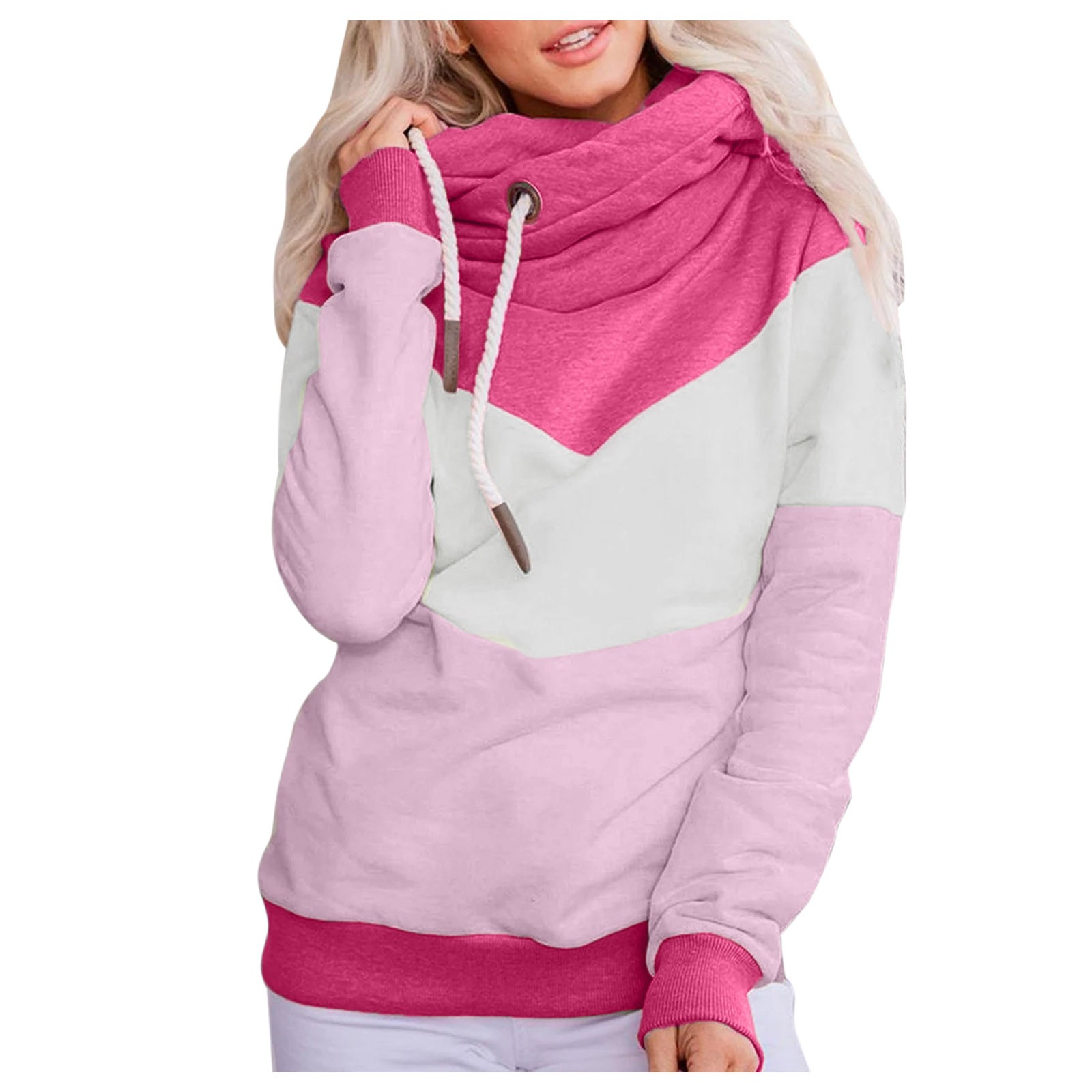 Hot Sale Women Casual Solid Contrast Long Sleeve Hoodie Sweatshirt Patchwork Printed Tops Sudaderas Mujer 2020 F Fast Ship 14