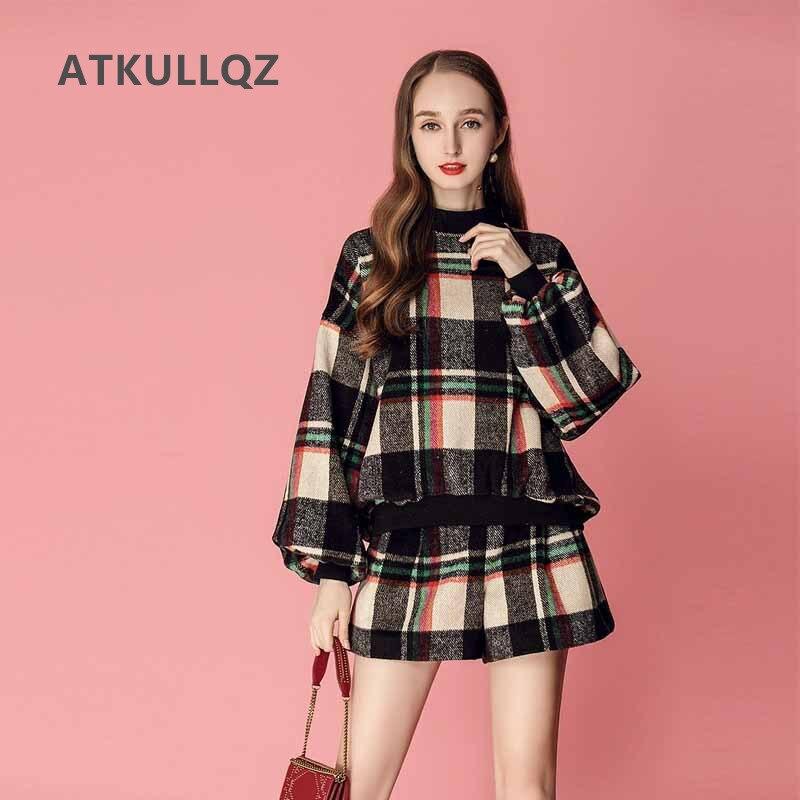 ATKULLQZ femmes 2019 automne et hiver élégant rétro contraste couleur plaid silhouette manches chemise + jambe large shorts costume femme