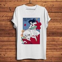 Inuyasha kagome camiseta engraçada, de anime, nova, branca, manga curta, casual, manga, unissex, streetwear