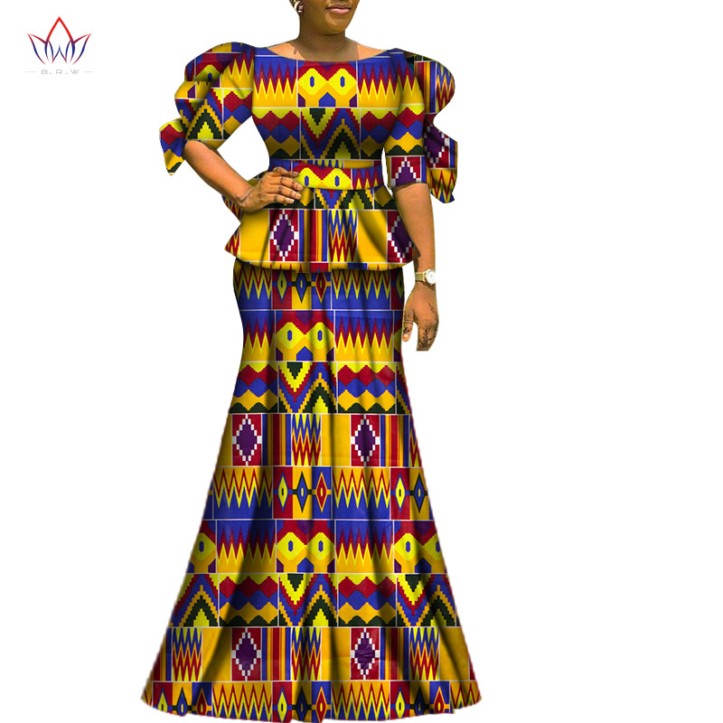 2 Piece Sets Womens Outfits Fashion Dashiki Cotton Top & Skirt African Clothes Bazin Plus Size Lady Clothing For Party WY6729