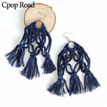 Cpop New Handmade Weave Long Macrame Earring Boho Elegant Tassel Bridesmaid Jewelry Accessories Gift Hot Sale Wholesale
