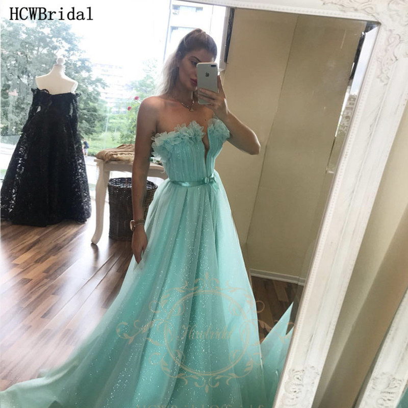 Mint Green Glitter Long Prom Dresses Strapless A Line Tulle Sexy Wedding Party Dress Plus Size Evening Gowns Robe De Soiree