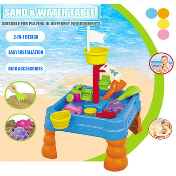 Kids Summer Outdoor Beach Sandpit Toys Sand Bucket Water Wheel Table Play Set Toys Children Learning Education Garden Baby Birth 25pcs set kids colorful beach sand mold play set outdoor backyard sandpit toy interactive games
