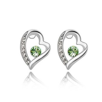 100% Fine ladies transparent classic earrings 925 sterling silver hazelnut green earrings bride Christmas gift E078 image