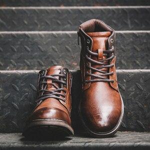 Image 2 - サイズ39〜48秋男性アンクルブーツ2019レトロラバー男性のブーツ # AF3998