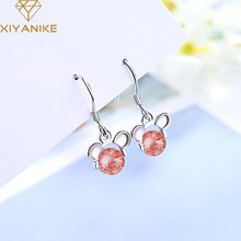 XIYANIKE-pendientes colgantes de ratón para mujer, de Plata de Ley 925, aretes creativos, diamantes de imitación Rosa simples, regalos de joyería artesanal
