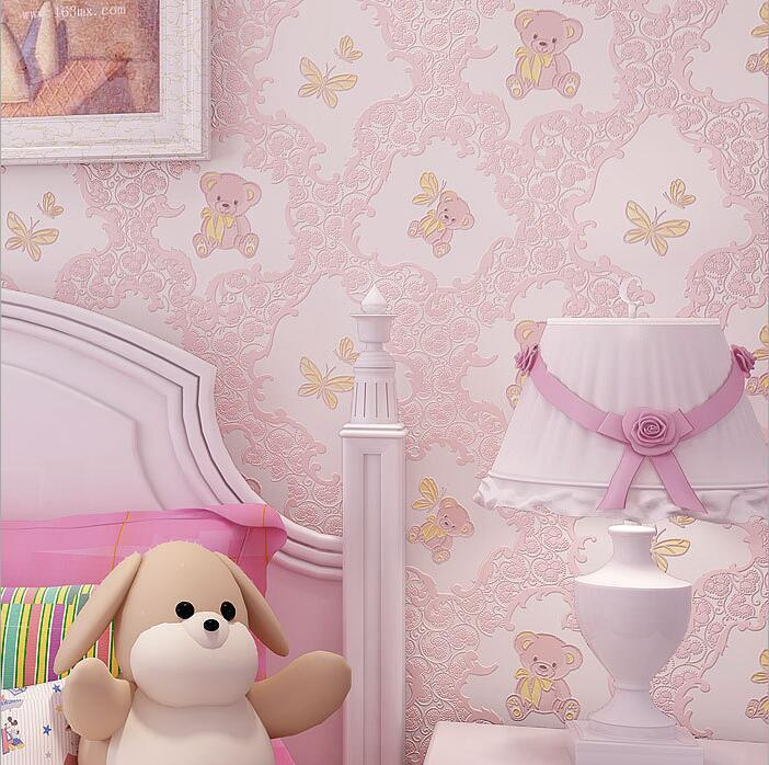 Cartoon Bear 3D Non-woven Wallpaper Zero Formaldehyde Environmentally Friendly Wallpaper Boys And Girls Room CHILDREN'S Room Bed