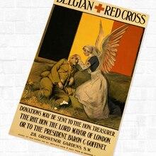 Historia de la Cruz Roja Belga WWI WW1 Propaganda Retro Vintage de póster pintura de lienzo DIY pegatinas de pared pósteres casa Decoración Para Bar