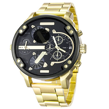Watch Men's Large Dial Quartz Sports Watch Multi Time Zone Leather / Stainless Steel Strap Case Military Watch Men's Watch цена 2017